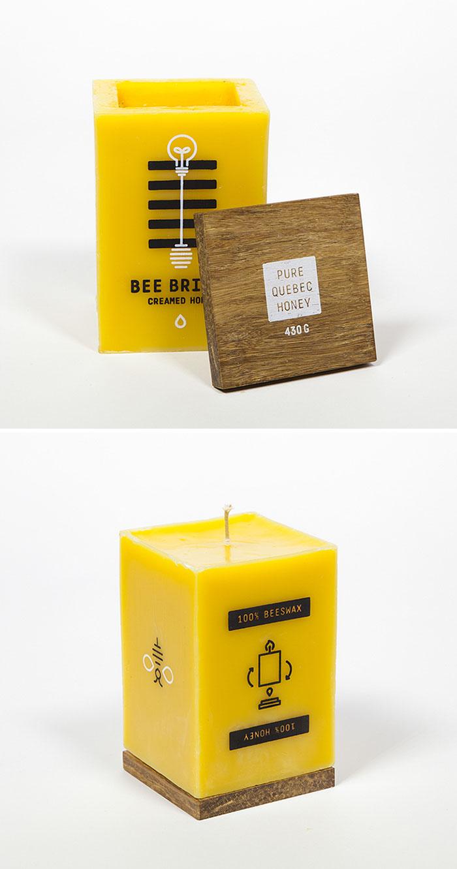 Упаковка для меда из пчелиного воска, которую можно использовать как свечу.