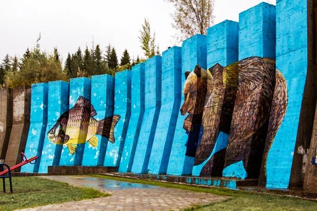 Чтобы медведь, который появился наэтой стене годом ранее, нескучал, художник решил «подселить» кн