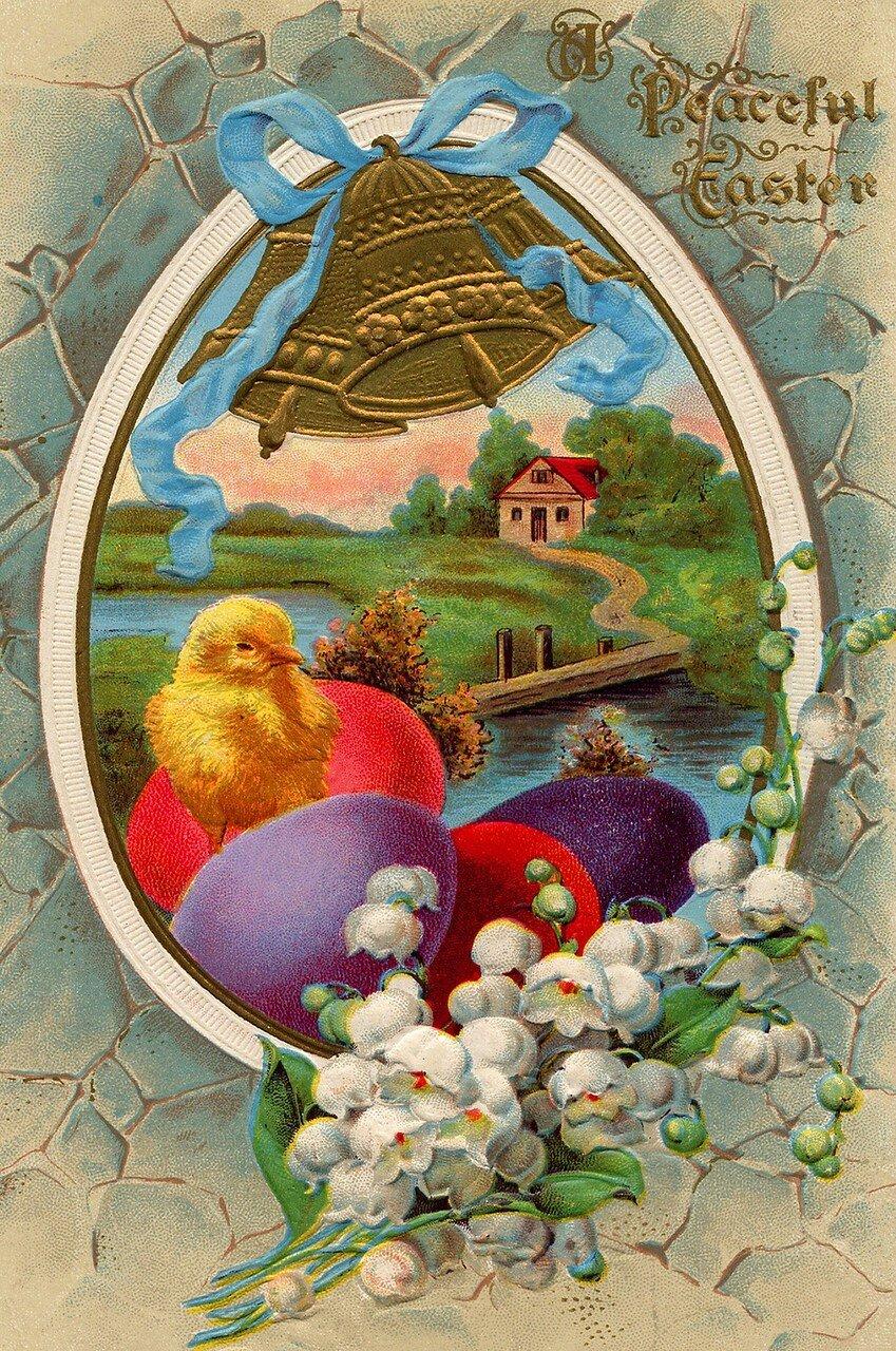 Картинки про, винтажная открытка к пасхе