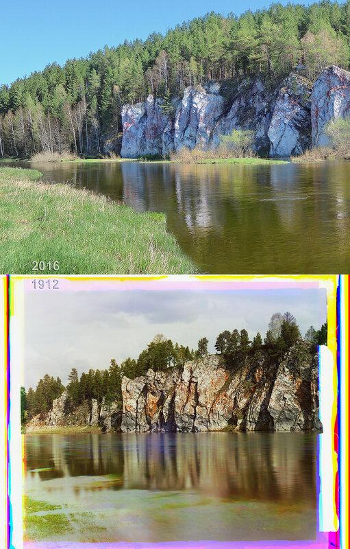 Камень Шайтан. Общий вид от села Новая Деревня.