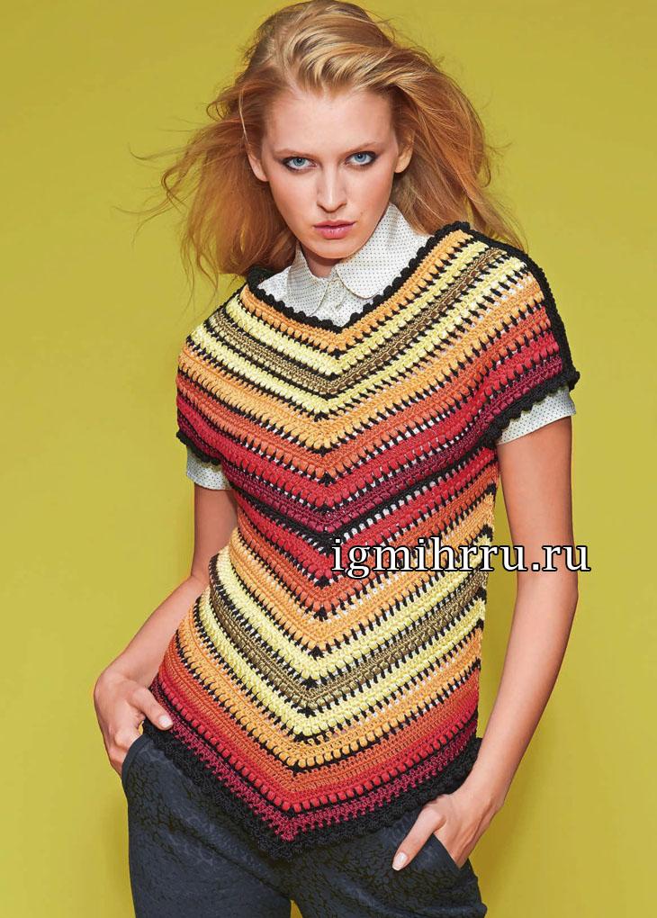 Эффектный пуловер с полосами, соединяющимися углом. Вязание крючком