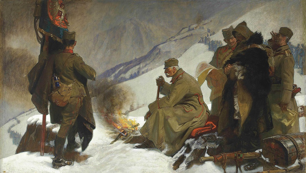 'King Peter of Serbia retreating across the Albanian Mountains, 1915'