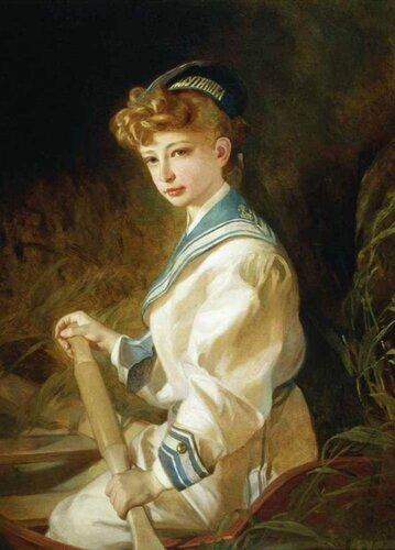 Макаров Иван Кузьмич (1822-1897) «Портрет девочки в лодке»