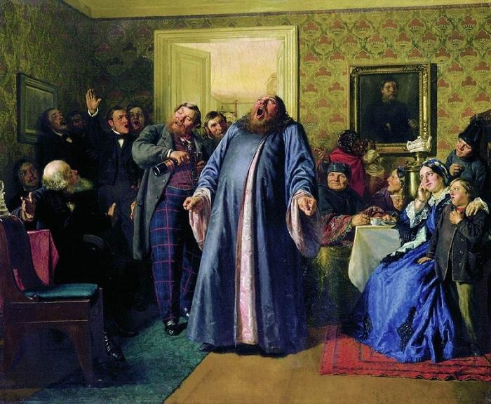 Николай Неврев, 1866 год Именины — мероприятие праздничное, и веселье тут вполне уместно. Но раскрас