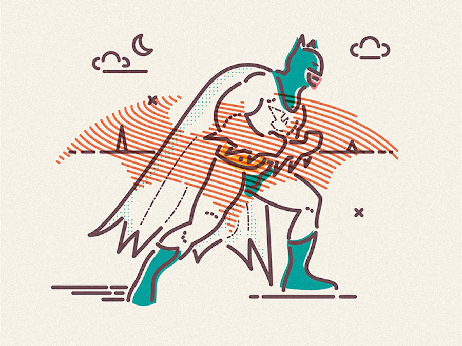 Colorful Linear Illustrations of Pop Culture Heroes