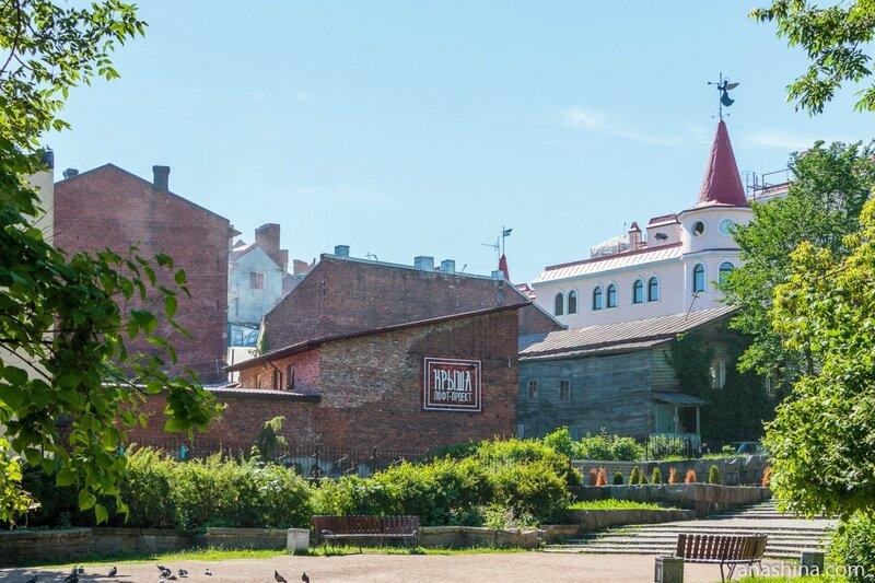 Террасный сад и старинные здания, Выборг