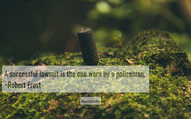 A successful lawsuit is the one worn by a policeman. ~Robert Frost