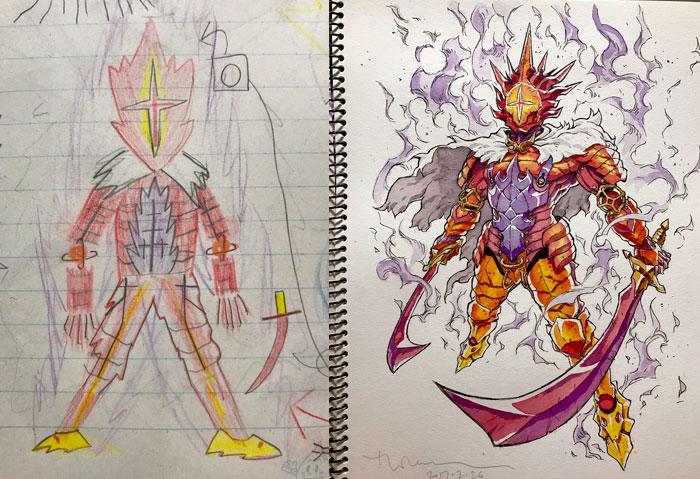 Pai transforma os desenhos de seus filhos em anime