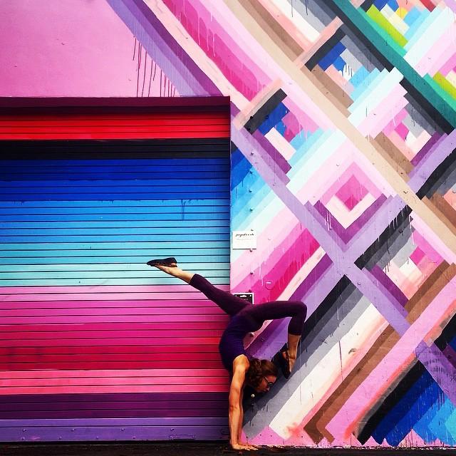 Yoga Poses with Street Art Graffiti