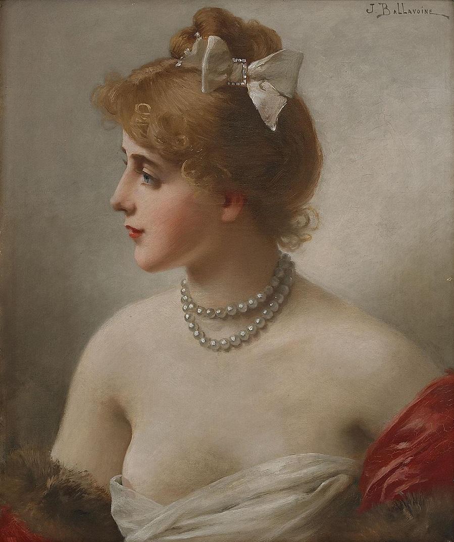 Flicka med pärlhalsband