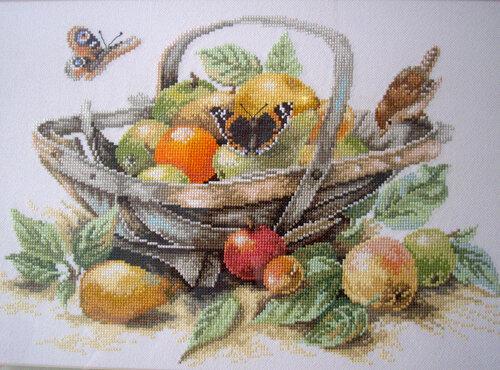 """Схема для вышивки крестиком  """"Летние фрукты """".  Схема цветная-символьная в графическом формате с таблицей подбора ниток."""
