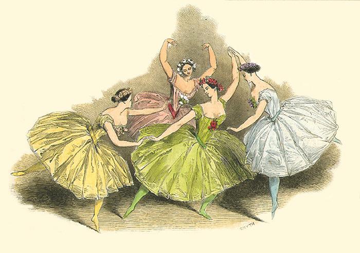 Па-де-катр, танцевал М. Тальони, К. Гризи, L Гран и Ф. Черрито в придворном театре в Лондоне