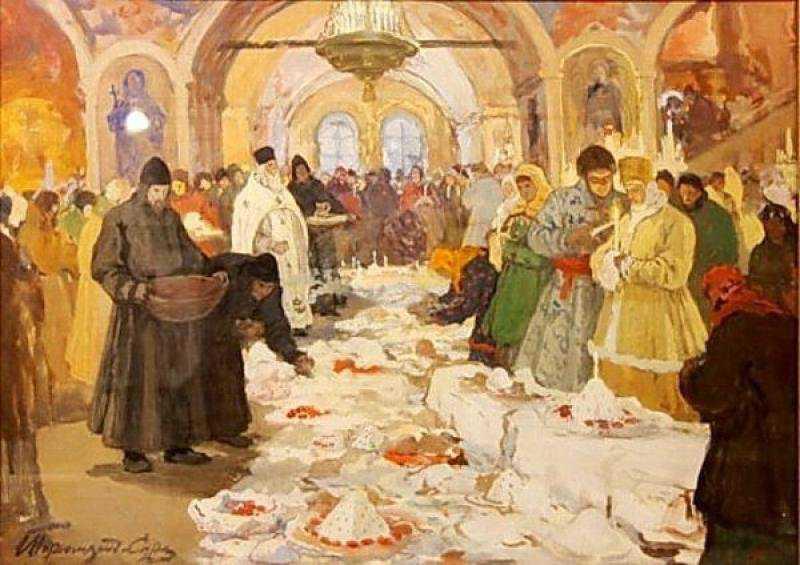 И. С. Горюшкин-Сорокопудов. Обряд освящения куличей. 1910