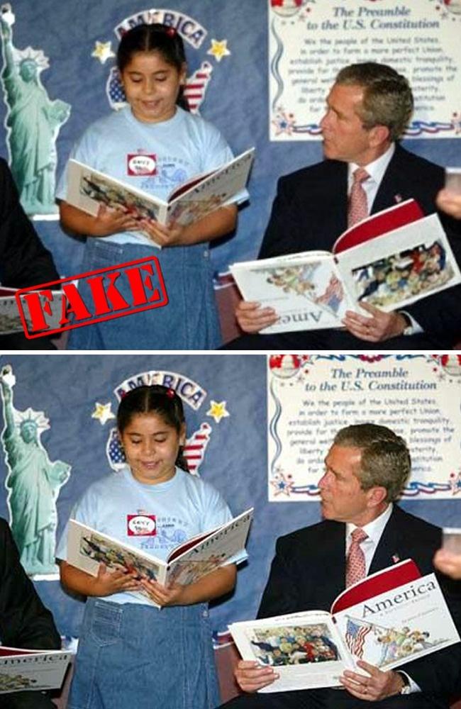 © freewoodpost  © slappedham  Историю отом, как Джордж Буш— младший читал книгу вверх