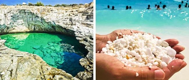 Нагреческом острове Тасос, отделенный откромки моря каменистым бордюром, находится н