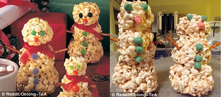 Снеговики из рисовых хлопьев получились не такими ровными и красивыми, хотя этот рецепт был помечен