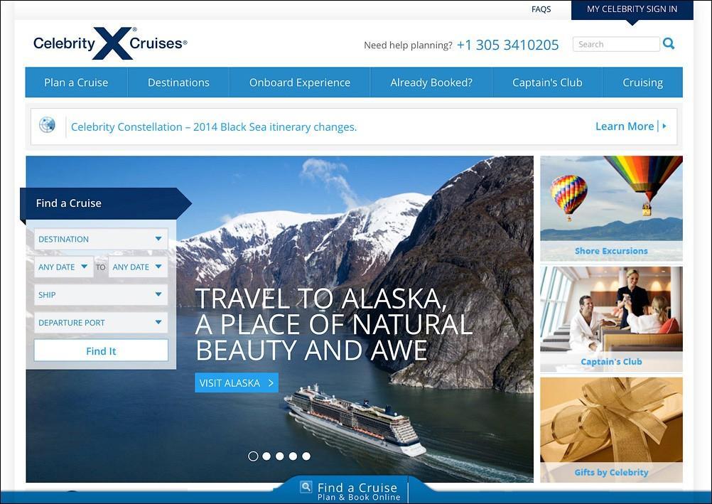 2. Сайт компании Celebrity Cruises встречает меня как раз баннером Аляски, хотя компания охватывает