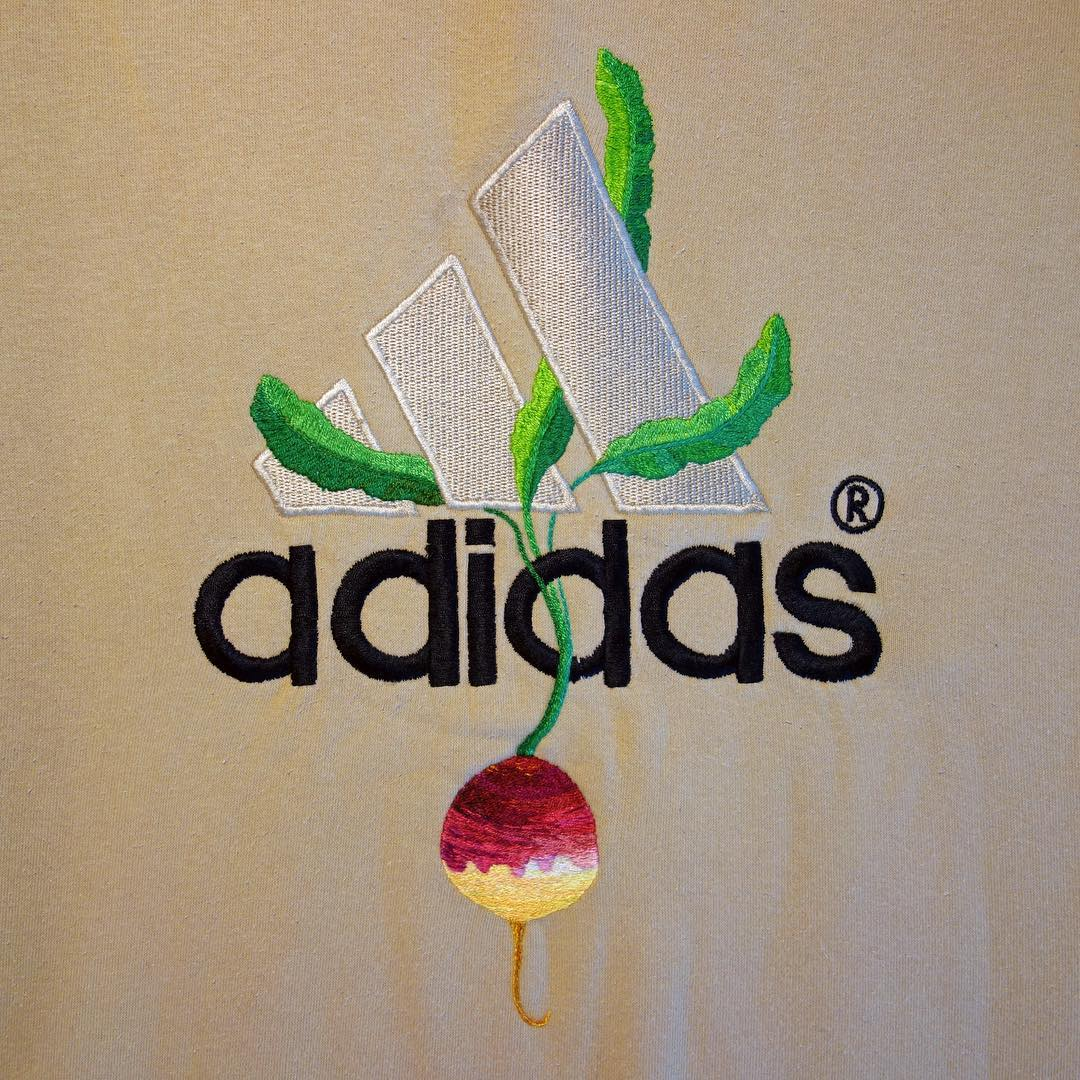 New Sportswear Logos Embroidered With Flowers and Vegetables by James Merry