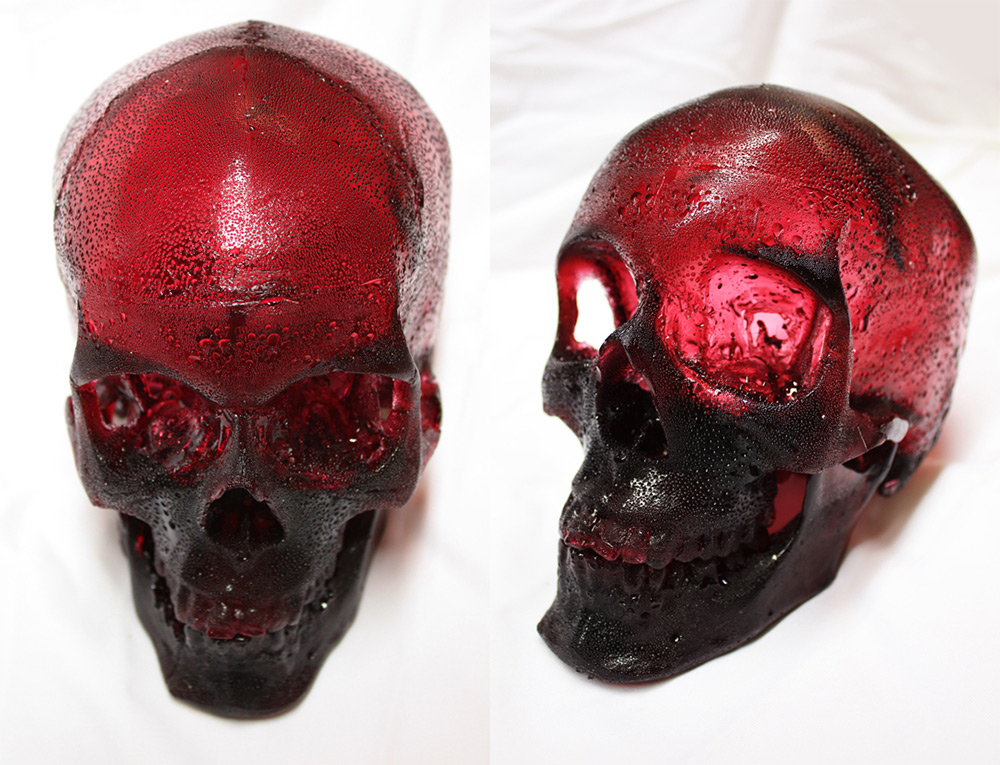 A Life-Sized Human Skull Sculpted from Raspberry Flavored Sugar by Joseph Marr (4 pics)