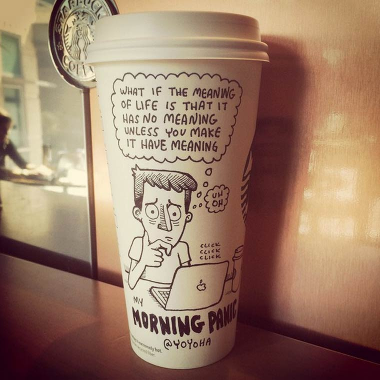 Starbucks Cartoon - Un illustrateur dessine ses blagues sur des gobelets jetables