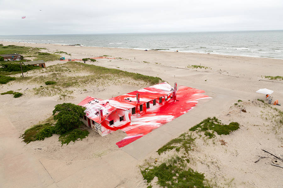 Red Colorized Abandoned Aquatics Building in Rockaway