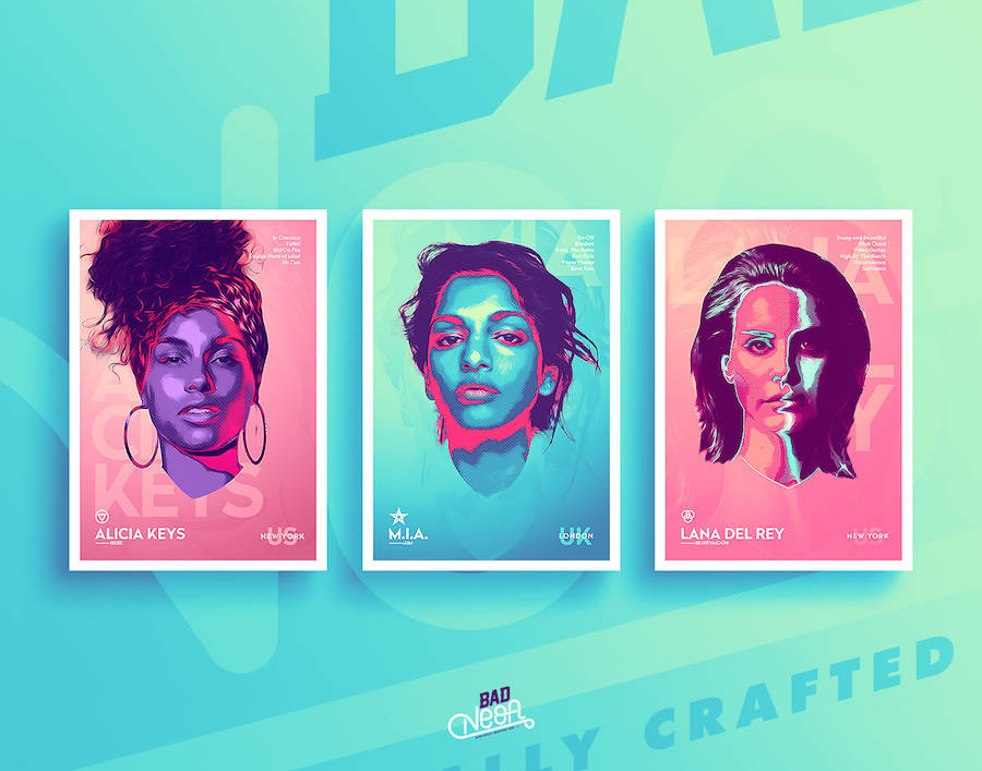 Great Digital Neon Portraits of Famous Artists