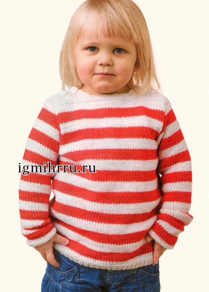 Для девочки 2-10 лет. Пуловер в красно-белую полоску. Вязание спицами