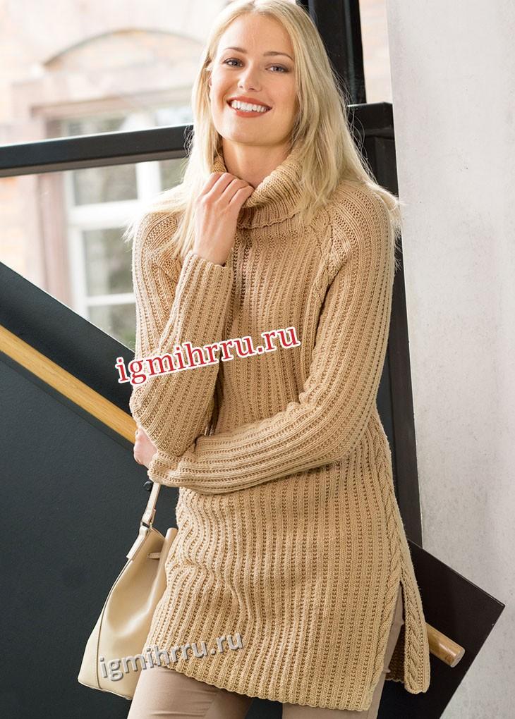 Удлиненный свитер цвета карамели, с рельефным узором. Вязание спицами
