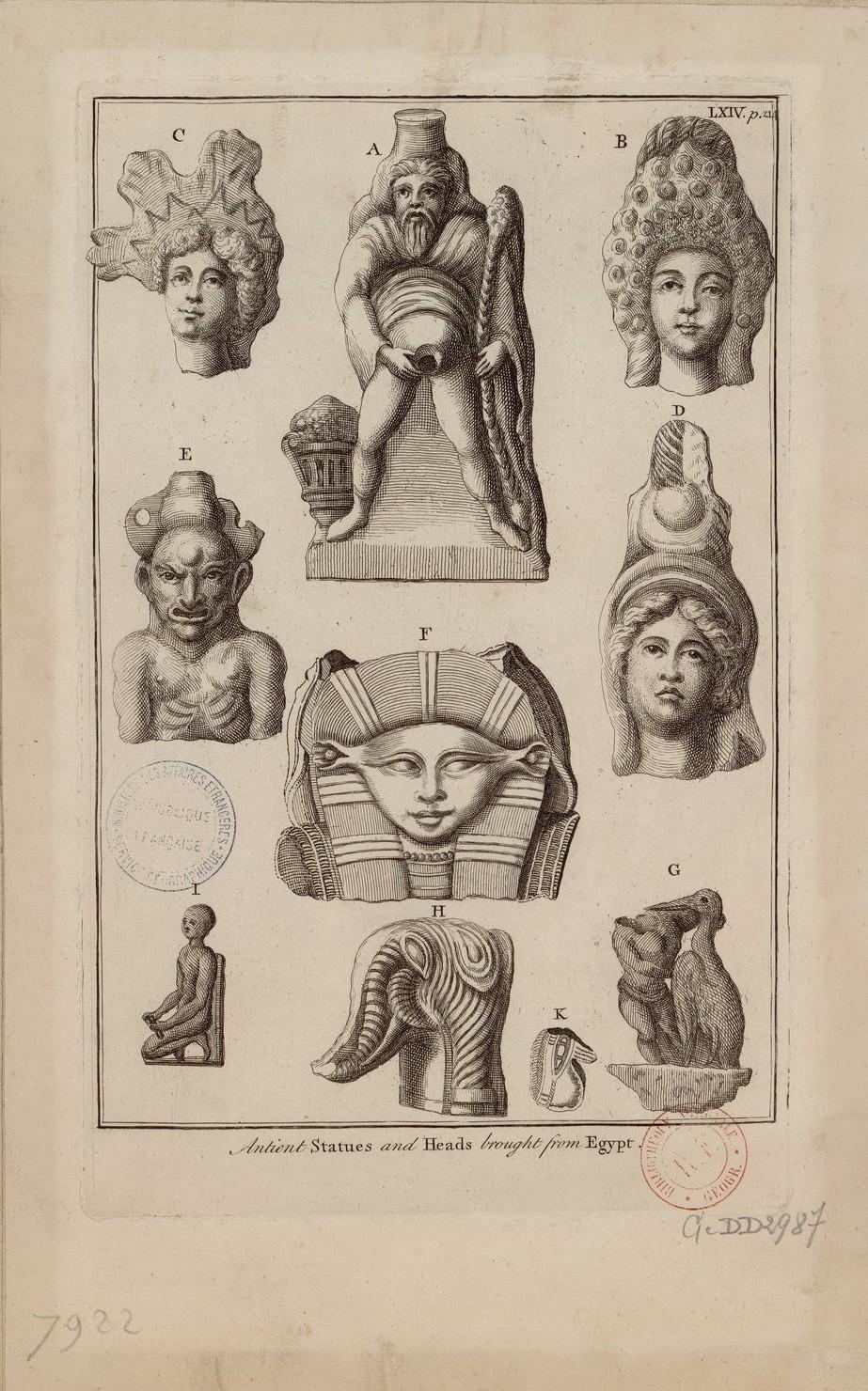 Древние статуи и головы, привезенные из Египта