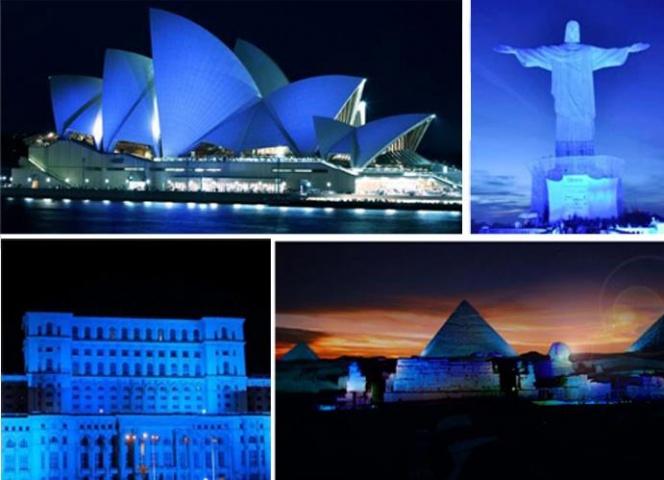 Синюю подсветку включили назданиях вцентре столицы