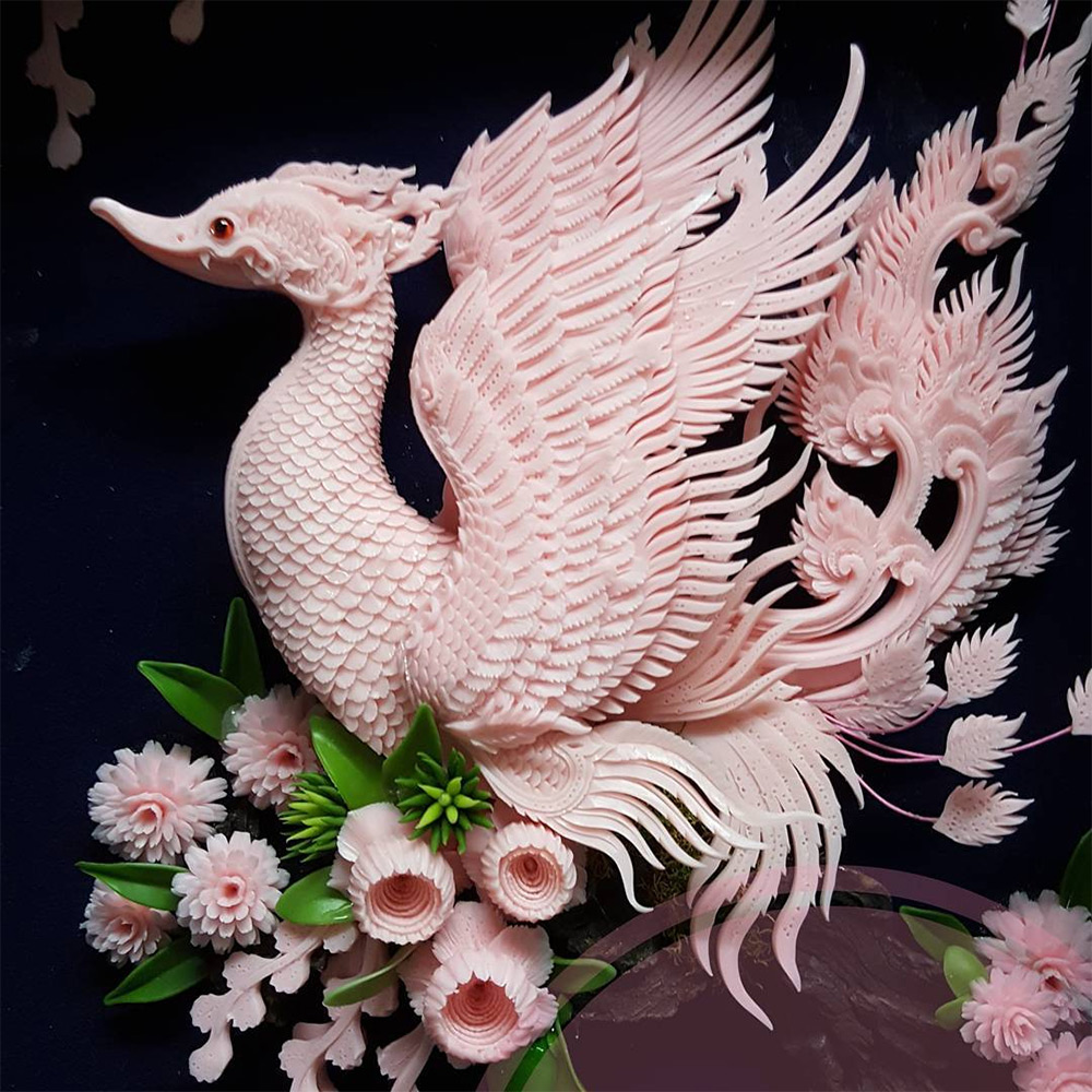 Dragons and Floral Designs Carved from Soap and Melons