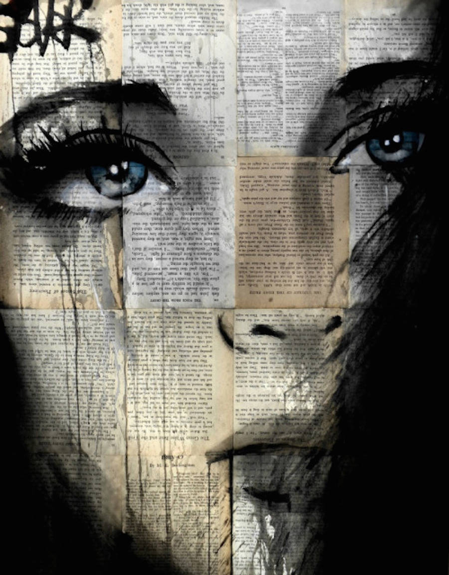 Realistic Women Portraits on Newspapers