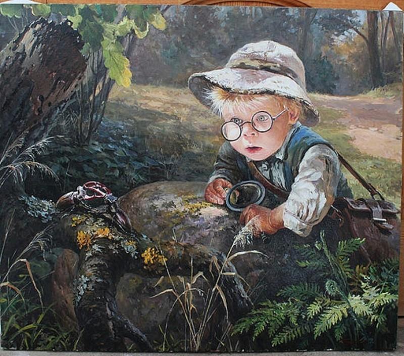 Дети и лето / картины Леоновича Владислава Николаевича