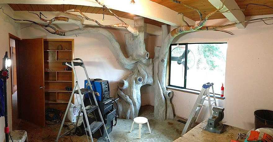 8. Для создания ствола дерева использовалась специальная смесь из цемента, а для ветвей — папье-маше