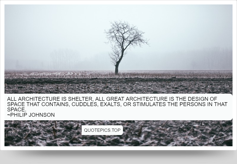 All architecture is shelter, all great architecture is the design of space that contains, cuddles, exalts, or stimulates the persons in that space. ~Philip Johnson