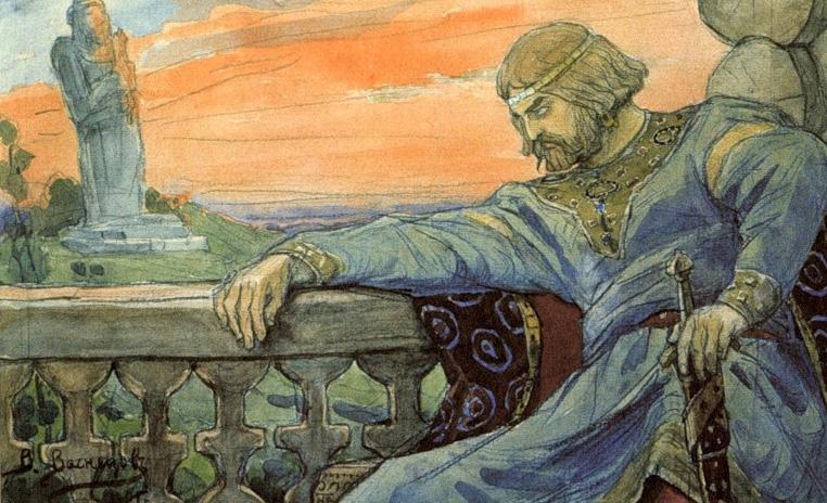 Крещение Руси. Владимир смотрит на идолов