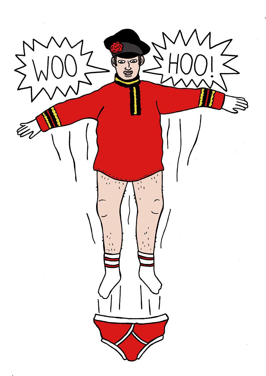 Когда русский человек взволнован, он способен выпрыгнуть из штанов.