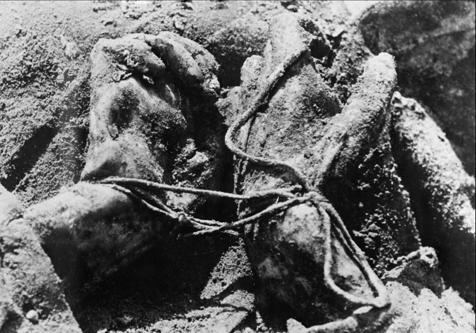Связанные руки одного из убитых польских офицеров