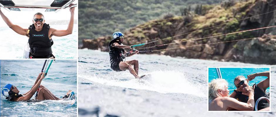 Барак Обама обучается кайтсерфингу во время экзотического отдыха