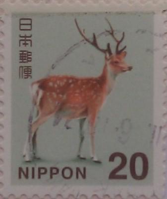 япония олень на голубом фоне 20