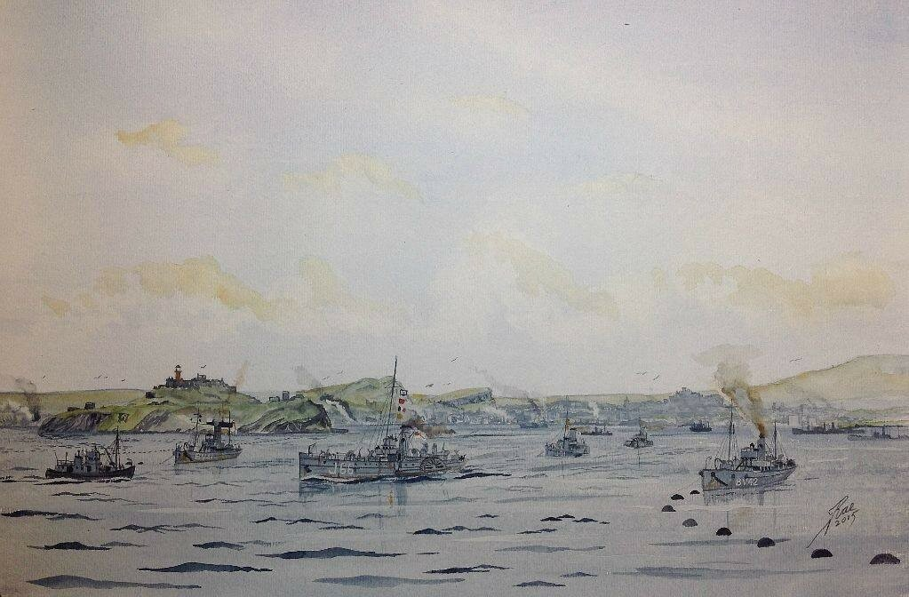Paddle minesweepers from the 8th Flotilla at Granton, pass through the boom off Inchkeith to sweep the channel out to the North Sea.