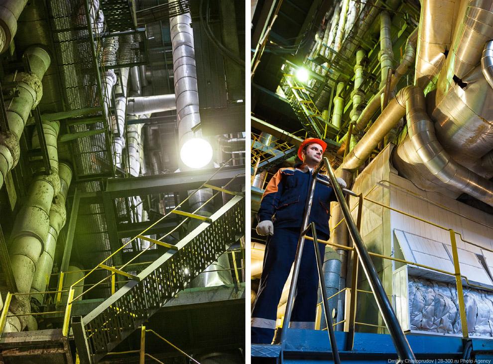 Котел, подвешенный на семи могучих балках на высоте 25-этажного дома, способен вырабатывать поч