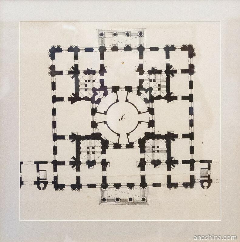 План нижнего этажа главного корпуса Петровского путевого дворца. Лист из Альбома казенных строений №3 Казакова М.Ф, 1799