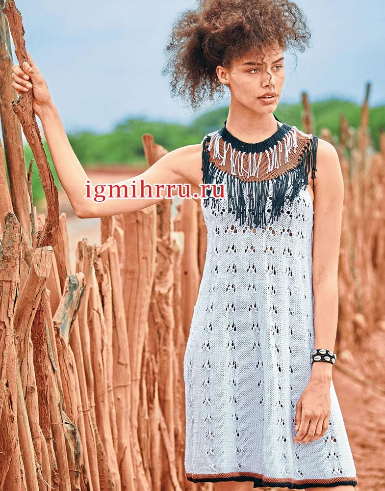 Летнее расклешенное платье в этническом стиле. Вязание спицами