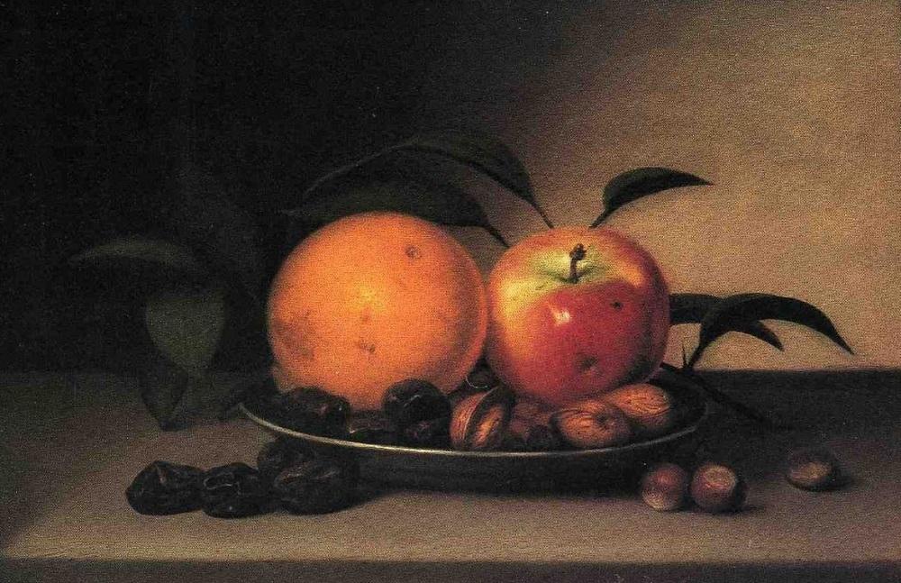 Рафаэль Пил. Фрукты и орехи в тарелке. 1818
