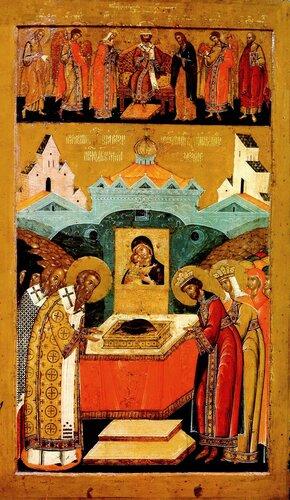 Положение Честной Ризы Пресвятой Богородицы во Влахерне. Икона. Москва, около 1620 года.