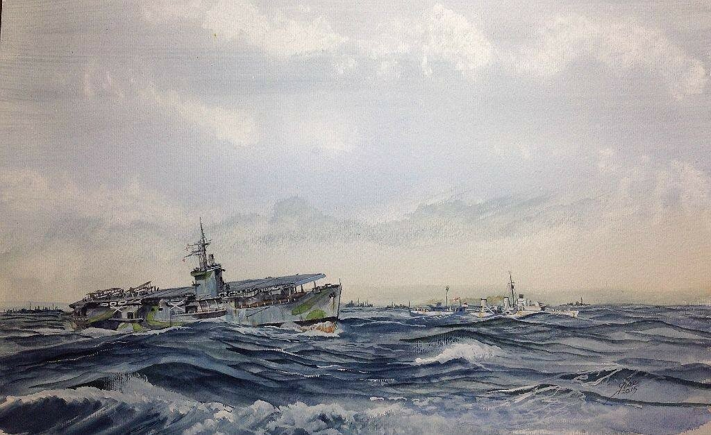 HMS Fencer and HMS Icarus turn out of the convoy into wind to launch a Swordfish AS patrol.