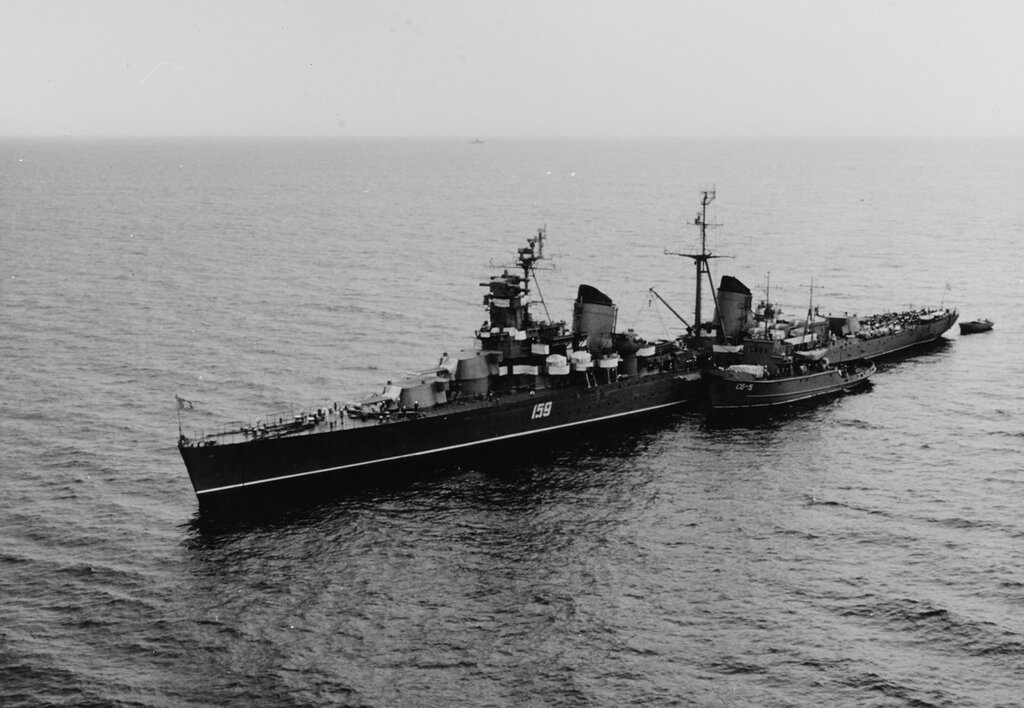 Kirov-class Soviet cruiser, pennant number 159, off the coast of Crete with the salvage tug SB-5 alongside, 5 June 1967.