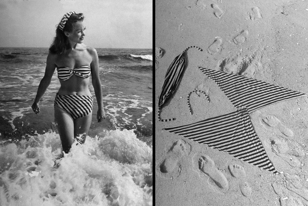14. Французская актриса Барбара Ланг в самодельном купальнике, который она вырезала сама, 1945 г. (N