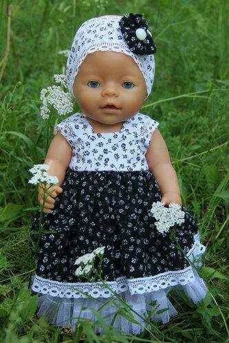шелковое черно-белое платье